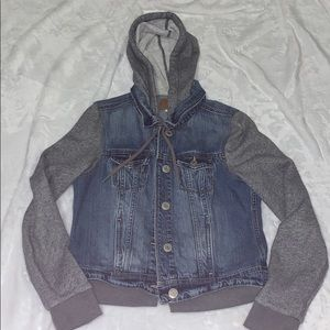 American Eagle Sweatshirt Jean Jacket
